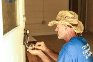 Habitat crew member sets an access lock