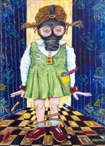 "Lisa Freeman's painting ""Chemtrails"""