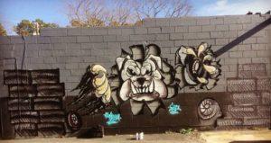 3-D bulldog mural