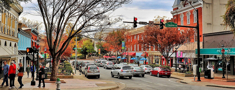 Downtown Athens, GA in autumn