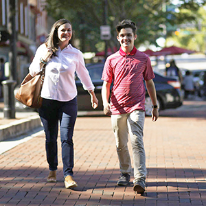 April Farlow and Damien Godfrey of Lydia's Place walking in Athens, GA