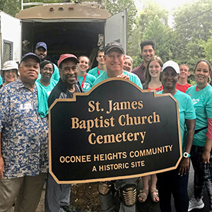 Volunteers at the St. James Baptist Church Cemetery