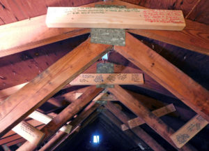 """Blessing boards"" in the Lydia's Homeplace attic"