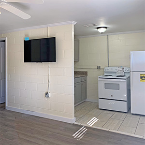 Kitchen and living room wall with TV
