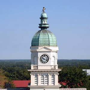 Clock tower and dome of Athens, GA, city hall